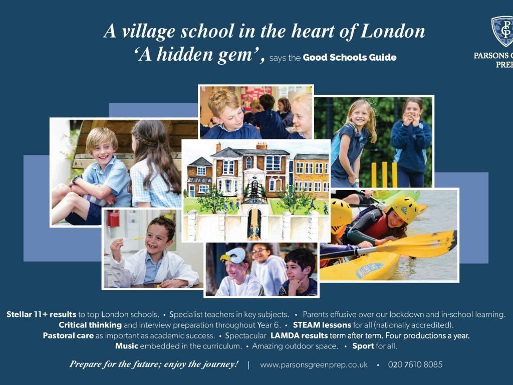 Parsons Green Prep new school page advert