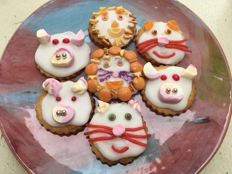 animal biscuits made by school child