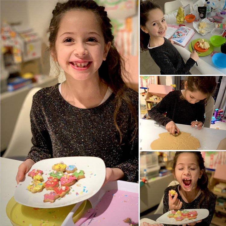 photo collage of girl baking cookies