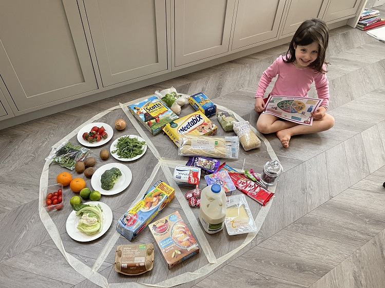 Girl with food chart on kitchen floor
