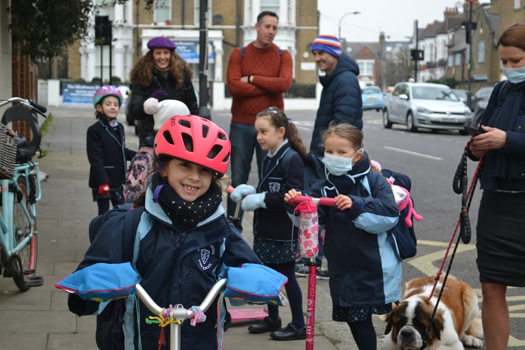 Parsons Green Prep School students on scooters