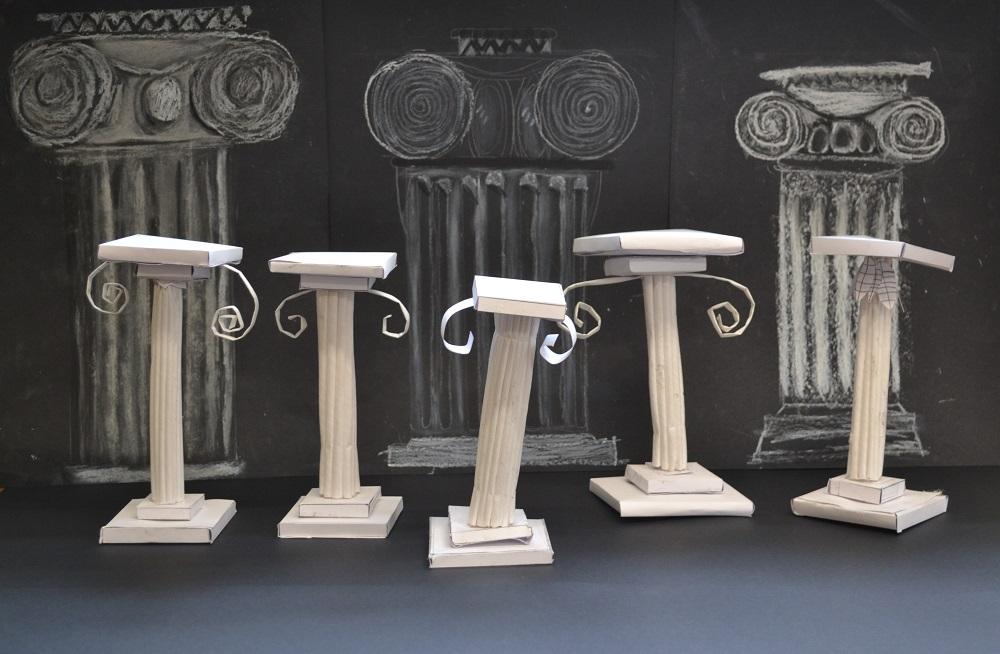 Year 5 sculptures of 3D columns