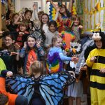 group of school children in different animal costumes